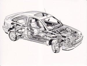 Escort RS2000 Mk5 cutaway